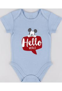 "Body Infantil Mickey ""Hello World"" Manga Curta Azul"