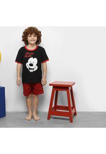 Pijama Infantil Lupo Mickey Manga Curta Masculino - Masculino-Preto+Vermelho