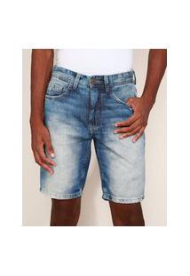 Bermuda Jeans Masculina Slim Com Rasgos Azul Médio