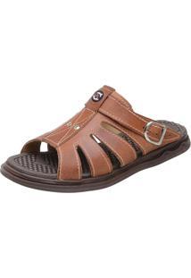 Sandália Chinelo Tchwm Shoes Franciscana Couro Pinhão