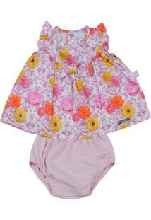 Vestido Cetim Floral E Shorts Cotton Ano Zero Pink