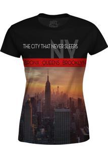Camiseta Estampada Baby Look Over Fame New York Preto