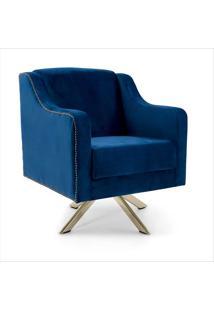 Poltrona Decorativa Base Eiffel Claire-Combinare - Azul