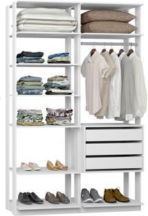Closet Modelado C/ 3 Gavetas E 1 Cabideiro Clothes 9008 – Be Mobiliário - Branco