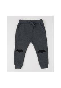 Calça Em Moletom Infantil Batman Cinza Mescla