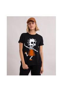 Camiseta De Algodão Halloween Lisa Os Simpsons Manga Curta Decote Redondo Preto