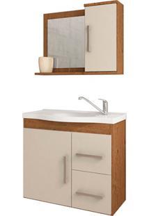 Gabinete Suspenso Para Banheiro Vix 56,5X63,5Cm Amêndoa E Off White