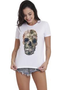 Camiseta Básica Feminina Joss Caveira Paisagem Branca - Kanui