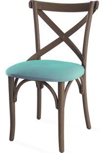 Cadeira Jantar De Madeira Estofada Madeleine - Stain Nogueira - Tec.950 Turquesa - 50X54,5X86 Cm