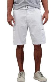 Bermuda Masculina Sarja Cargo - Masculino-Branco