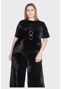 Camiseta Bold Veludo Plus Size 58/60 Feminina - Feminino-Preto