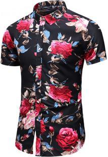 Camisa Floral Masculina - Preto/Vermelho G