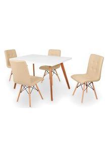 Conjunto Mesa De Jantar Gih 120X80Cm Branca Com 4 Cadeiras Gomos - Nude