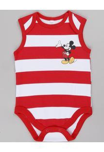 Body Regata Infantil Mickey Listrado Vermelho