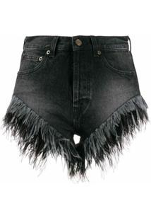 Saint Laurent Short Jeans Com Acabamento Desfiado - Preto