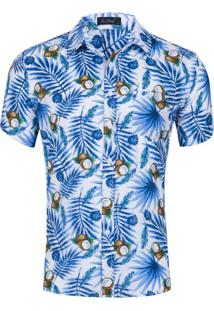 Camisa Floral Masculina - Branco/Azul Xgg