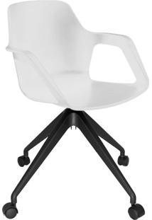 Cadeira De Cozinha Giratória Beau Com Braço Branca E Preta