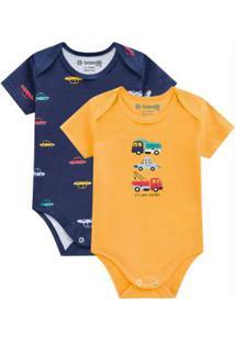 Body Bebê Menino Amarelo Escuro