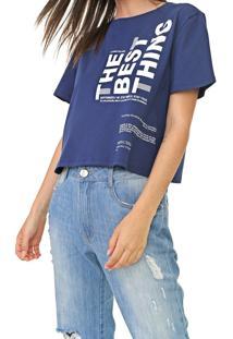 Camiseta Cropped Dimy Lettering Azul-Marinho - Kanui