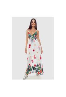 Vestido Longo Estampado Floral Branco Sob Transpassado Viscose
