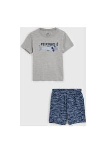 Pijama Hering Kids Curto Infantil Peixe Cinza/Azul-Marinho