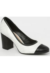 Sapato Em Couro Matelassê- Branco & Preto- Salto: 8Ccapodarte