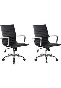 Conjunto Com 2 Cadeiras De Escritório Best Diretor Preto