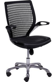 Cadeira Office Age- Preta & Prateada- 100X60X48Cm