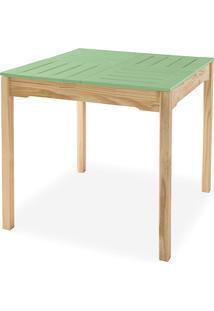 Mesa Para Sala De Jantar Maciça Taeda Com Tampo Colorido Olga Verniz Natural E Verde Sálvia 80X80X75Cm