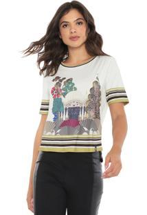 Camiseta Morena Rosa Estampada Off-White/Verde