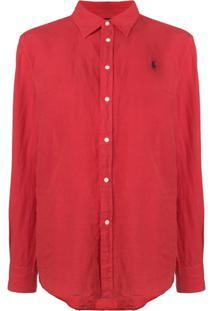 Polo Ralph Lauren Camisa Com Logo Bordado - Vermelho