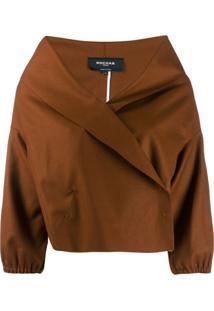 Rochas V-Neck Cropped Jacket - Marrom