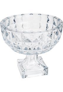 Centro De Mesa Wolff Diamant Cristal Com Pé 25X21.5Cm Transparente