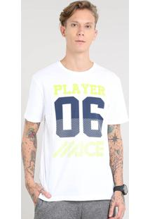 "Camiseta Masculina Esportiva Ace ""Player 06"" Manga Curta Gola Careca Off White"