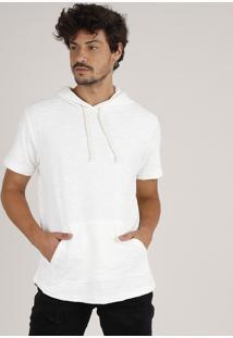 Camiseta Masculina Em Moletom Flamê Com Bolso E Capuz Manga Curta Off White