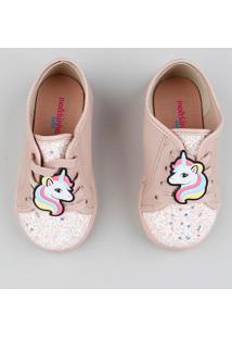 Tênis Infantil Molekinha Unicórnio Com Glitter Rosê
