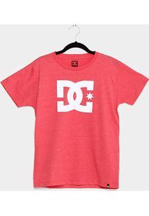 Camiseta Juvenil Dc Shoes Logo Masculina - Masculino-Vermelho+Cinza