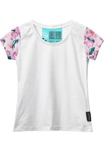 Camiseta Baby Look Feminina Algodão Estampa Flor Estilo Moda - Feminino