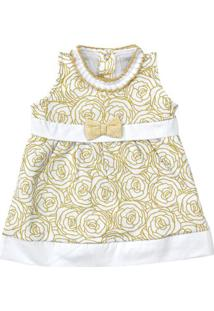 Vestido Sem Manga - Estampa Douradas - 100% Algodão - Branco - Tilly Baby - P