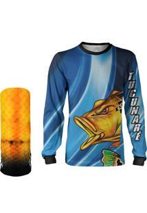 Camisa + Máscara Pesca Quisty Tucunaré Nervoso Azul Proteção Uv Dryfit Infantil/Adulto - Camiseta De Pesca Quisty
