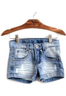 Shorts Jokenpô Infantil Jeans - Feminino-Azul