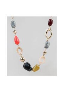 Colar Feminino Alongado Com Pedras Acrílicas Dourado