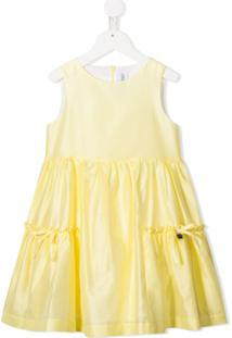 Simonetta Vestido Evasê De Cetim - Amarelo