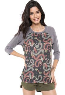 Camiseta Hurley Raglan Thread Lightly Cinza/Preto