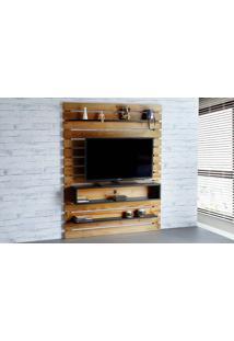 Painel De Tv Para Sala Standby - Rack De Parede Para Tv Até 60 Polegadas Nózes E Preto - 135X23X172 Cm