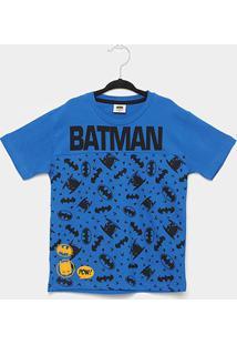 Camiseta Infantil Fakini Batman Masculina - Masculino-Azul Escuro