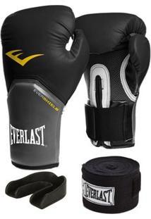 Luva Pro Style Elite Everlast 12 Oz + Bandagem 2,74M + Protetor - Unissex