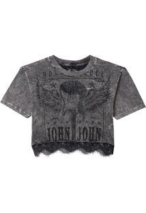 Camiseta John John Guitar Lace Feminina (Cinza Medio, Pp)