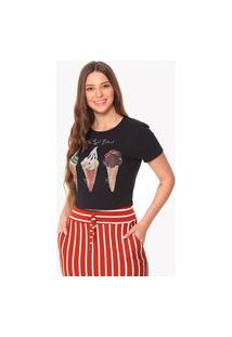 Camiseta Cropped Daniela Cristina Sorvetes 256Dc10040 Preto