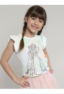 Blusa Infantil Frozen Com Babado Manga Curta Off White